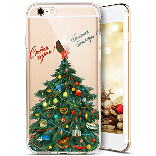 Custodia iPhone 4S,iPhone 4S Cover,SainCat Custodia in Morbida TPU Protettiva Cover per iPhone 4S,Creative Design Transparent Silicone Case Ultra Slim Sottile Morbida Transparent TPU Gel Cover Shock-A albero di Natale