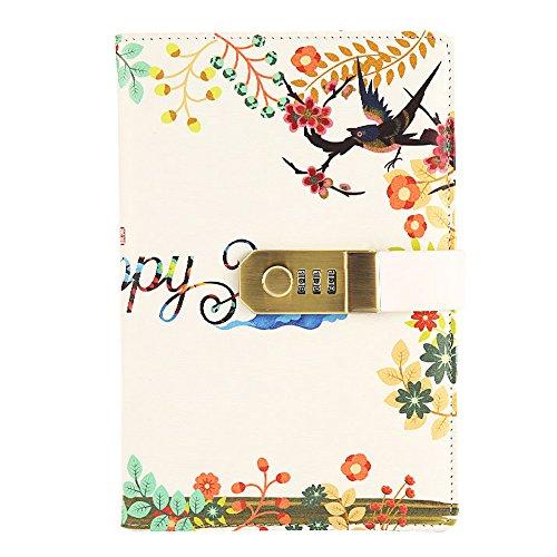 Cheerlife Tagebuch mit Zahlenschloss Code gedruckt Reisetagebuch DIN A5 Notizblock Notizbuch mit Passwort für Zeichnen Schreiben (Weiß Frühling) (Zeichnen Und Tagebuch Schreiben)