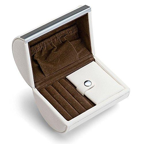 Philippi Design Donatella Mini Schmuckbox weiß 128065 - aus weißem echten Leder mit Samt