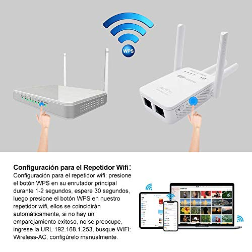 Amplificadores Señal de WiFi 300Mbps y 1200Mbps,  Repetidor Wifi Extensor Enrutador Inalámbrico Punto Acceso con 4 Antenas Externas en Largo Alcance (4 Modos,  2, 4G y 5G,  4 Antenas,  Puerto LAN/WAN,  WPS)