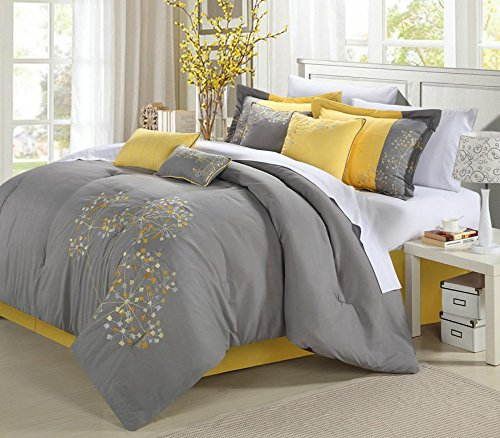Chic Home 8-teilig Stickerei Tröster Set, Polyurethan, Floral Yellow Grey, King Size -