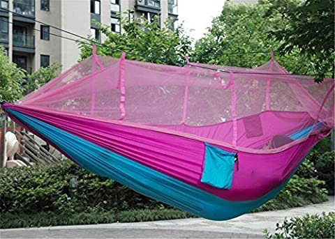 EIALA Camping Hammock, Mosquito Net Outdoor Hammock Travel Bed Lightweight Parachute Fabric Double Hammock For Indoor, Camping, Hiking, Backpacking, Backyard (Pink + Blue)