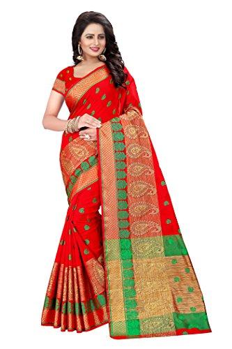 Mona Designer Women's Cotton Silk Saree (Keri_Red)