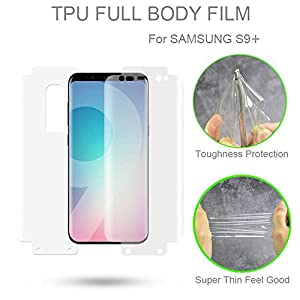 Elove Full Body [HD Clear] [Front + Back] [Edge to Edge] TPU Screen Protector Film [Not Tempered Glass] for Samsung Galaxy S9 Plus