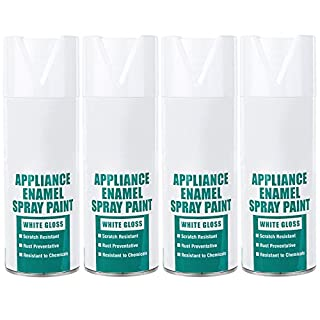 Plasti-Kote 400ml Super Spray Paint DIY Enamel Appliance Gloss White (Set of 4)