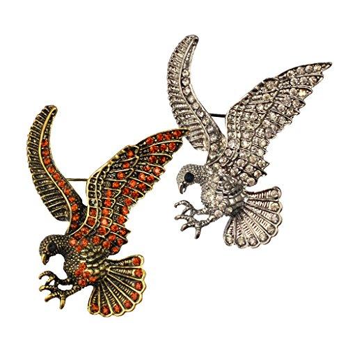 MagiDeal 2pcs Pin Broche de Vintage Águila de Cristal Animal Accesorios de Ropa