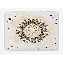 Sun Bath Mat, Hand Drawn Stars Dots Pattern Vintage Oriental Elements Astral Ornamental Design,