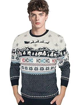 WTUS Crew Knit,Suéter de Navidad de Moda para Hombre,Gris