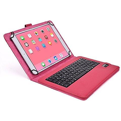 Asus VivoTab RT/3G/LTE, VivoTab Smart ME400C Custodia con Tastiera, COOPER INFINITE EXECUTIVE Custodia a libro Per Il Trasporto di Tablet con Tastiera Bluetooth QWERTY Wireless Removibile con supporto (Rosa)