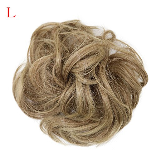 Luckhome Haargummi Haarteil Dutt Synthetik Haare Für Haarknoten Zopf Gummiband Hochsteckfrisuren Haarband Frauen Lockiges Unordentliches Brötchen-Haar-Wirbel-Stück Scrunchie Perücken(L) (Grau-haar-brötchen)