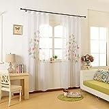 GWELL Kinderzimmer Gardinen Vorhang Baum Ösenschal Dekoschal für Wohnzimmer Schlafzimmer lichtdurchlässig Transparent Tüll 1er-Pack 270x130cm(HxB)