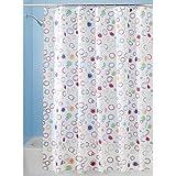 InterDesign Doodle Cortina de ducha   Cortinas estampadas para bañera o plato de ducha   183 x 183 cm   Alegre cortina de baño con círculos de colores   Poliéster de colores