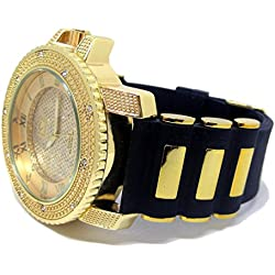 Row of Rocks Iced out Gold Plated Hiphop Bling Rubber strap Watch