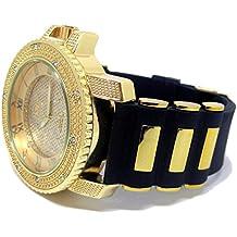 Chapado en oro de 3fila de Rocks Iced Out Hiphop Bling correa de caucho reloj
