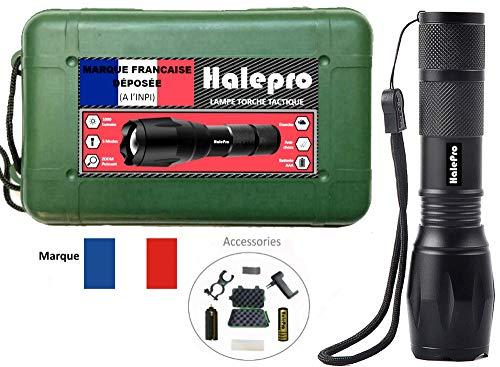 Halepro Torche Lampe de Poche LED, Rechargeable Torche LED-Lampe de Vélo,Lampe de Torche Militaire Poche LED Ultra Puissante Zoomable, L2 CREE LED-1000 Lumens, 5 Modes d'éclairage