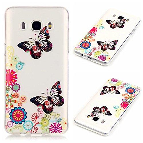 Samsung Galaxy J7 (2016)J710 Custodia,KSHOP TPU Custodia conchiglia Caso Case Cover in silicone morbido Flessibile TPU modelli colorati - Farfalla