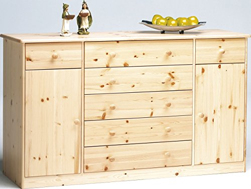 Erst-Holz® Kommode Highboard Anrichte Sideboard Kiefer Natur 7 Schubladen, 2 Türen 90.50-31 -