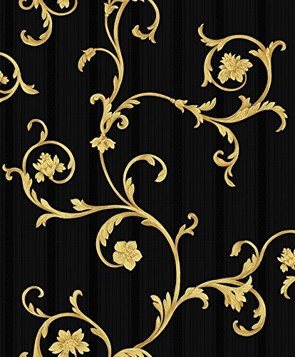Vinyltapete Tapete Barock Retro # schwarz/grau/gold # Fujia Decoration # 22523