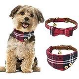 JDYW 2 stücke Hundehalsband Leder Katzenhalsband Bandana Halstuch Rot Fliege Krawatte für Kleine Hunde und Katzen