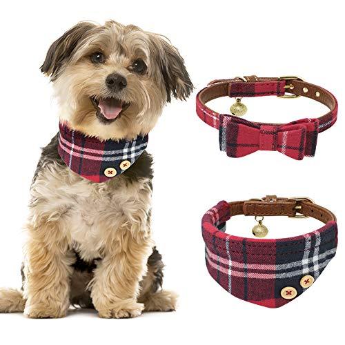 JDYW 2 stücke Hundehalsband Leder Katzenhalsband Bandana Rot Fliege Krawatte Halstuch für Kleine Hunde und Katzen