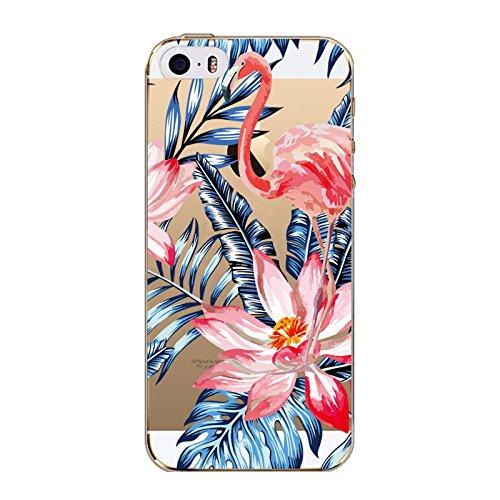 Coque Iphone 7 en Gel silicone souple transparent , flamant rose , Flamingo , multi petit flamant rose Flamant et grosse fleur
