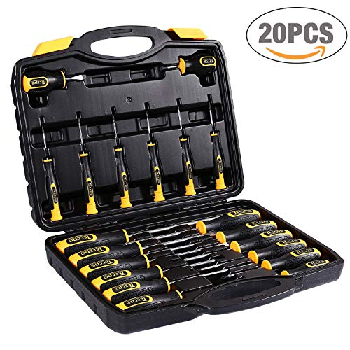 Juego de Destornilladores, TECCPO Professional 20Pcs Kit de Destornillador, brocas Magnéticas Ranuradas Herramientas de Reparación, Destornillador Plano, Destornillador Phillips