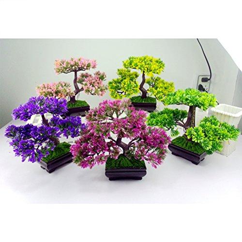 VORCOOL Künstlicher Bonsai Dekopflanzen klein Kunstpflanzen im Topf Zuhause Party Tisch Dekoration (Rosa)