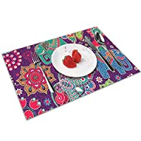 QCFW Placemats Place Mats Sets of 4 Table Mats PVC Washable Mat Heat Resistant Mat for Kitchen Garden BBQ Outdoor Colourful Indian Style Elephants