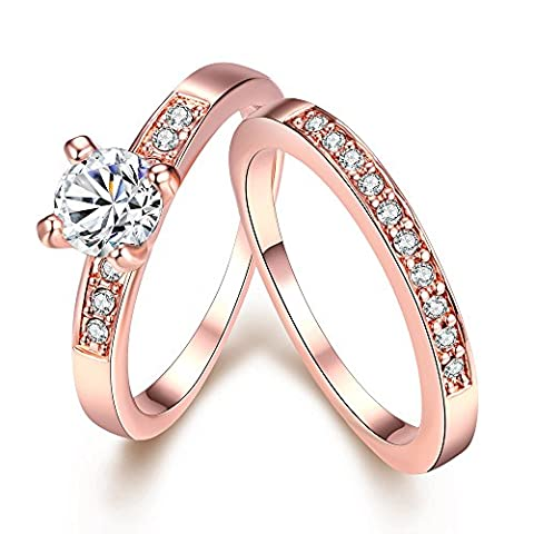YAZILIND Bijoux brillants design simple avec blanc zircon cubique rose or Bague plaquée pour le couple 49