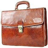 modamoda de - ital. Business Laptop Akten Tasche Leder A007, Farbe:A007 Cognac