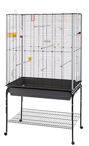 Ferplast Planeta Cage, Livrée avec Accessoires et Support avec Rangement, en Métal Robuste Vernis Noir et Bac en Plastique Marron pour Canaris, Perruches et Oiseaux Exotiques, 97 x 58 x 173,5 cm