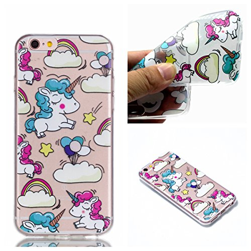 iPhone 6 6S Hülle,iPhone 6 6S Case [Scratch-Resistant] , Cozy Hut ® Ananas Design Niedliche Cartoon Malerei Silikon Hülle / Schutzhülle / Cover für iPhone 6 6S (4,7 Zoll), TPU Clear Transparent Protec Schüchtern Einhorn