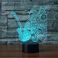 BFMBCHDJ Guitar Shape 3D LED Night Light 7 Colorful Atmosphere Lamp Musical Instruments 3D Illusion Desk Table Lamp Baby Sleeping Lights