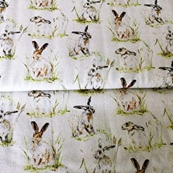 Hasen, Kaninchen und Wild Beige Baumwolle, hochwertiger Stoff ...