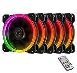 EasyDiy Ventole ultra silenziose per case 120 mm, con LED, dissipatori di calore e radiatori per CPU 5 Set,RGB