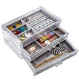 Portagioie con 3 cassetti,La perfetta scatola gioielli per orecchini, anelli, spille, ecc.Anche come in plastica rigida trasparente