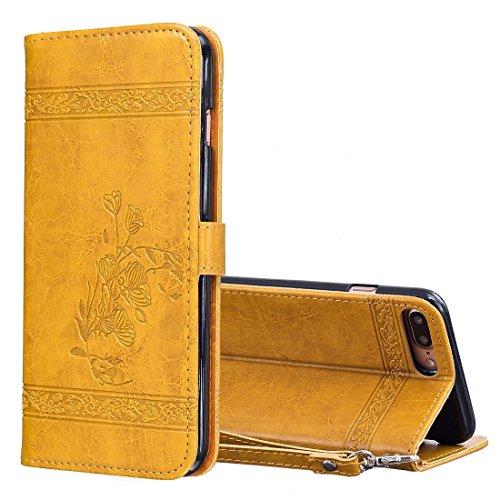 Für iPhone 5.5 Zoll Fall, Für iPhone 8 Plus & 7 Plus Retro Öl Wachs Textur Horizontal Flip Geprägte Ledertasche mit Halter & Kartensteckplätze & Brieftasche & Bilderrahmen & Lanyard (5,5 Zoll) ( Color : Gold )