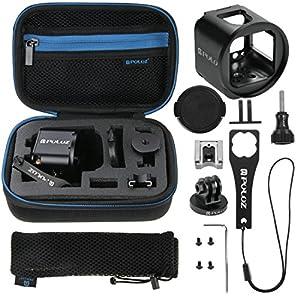 Puluz 45en 1Accessoires GoPro ultime Combo Kit (Sangle de poitrine + Support ventouse + 3voies Pivot Bras + J-Hook Boucle + sangle de poignet + sangle casque + surface Mounts + Tripod Adapter + Sac de Rangement + Guidon + Clé) pour GoPro Hero5/4/3+/3/