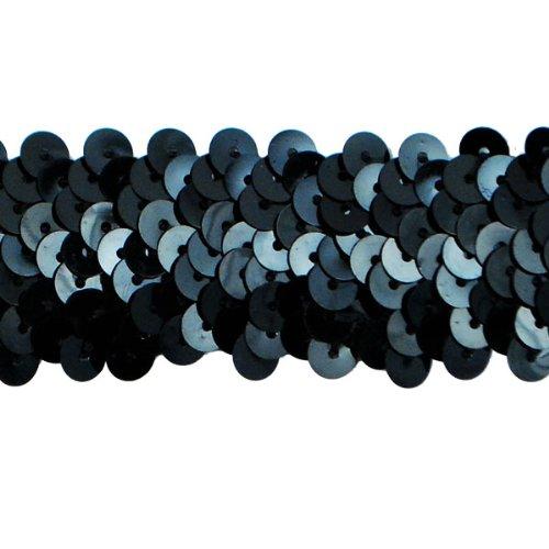 Expo International 20-yard 3-reihig und 1Metallic Stretch Pailletten Trim, 1/4-Zoll, schwarz (Stretch-metallic-pailletten-trim)