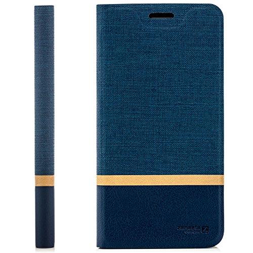 zanasta Tasche kompatibel mit ZTE Blade V8 Mini Hülle Flip Case Schutzhülle Handytasche mit Kartenfach Blau