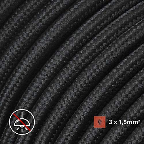 Textilkabel für flexible Elektroinstallation (H05VV-F), Stoffkabel 3x1.5mm², Aufputz-Textilkabel, Installationskabel | Schwarz- 3 Meter