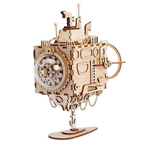 ROKR Laser-Schnitt-hölzernes Puzzlespiel-DIY Mechanismus-Spieluhr-hölzernes Modell Gebäude-Geburtstags Kinder und Erwachsene (Submarine)