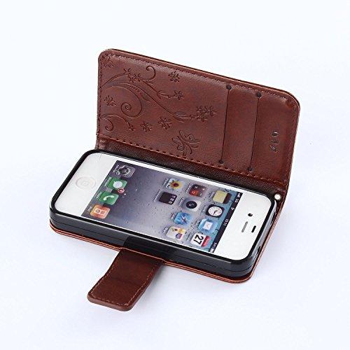 iPhone 4S, iPhone 4, iPhone 4S à rabat, emaxelers synthétique étui en cuir PU à rabat magnétique avec housse Motif campanule Bleu élégant étui de protection à rabat en cuir synthétique avec support po Butterfly 3
