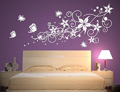 wandtattoo wandaufkleber aufkleber wandsticker wall sticker wohnzimmer schlafzimmer kinderzimmer ranke blume blumen blumenranke blumeranke vine flower - Wandtattoo Wohnzimmer Blumen