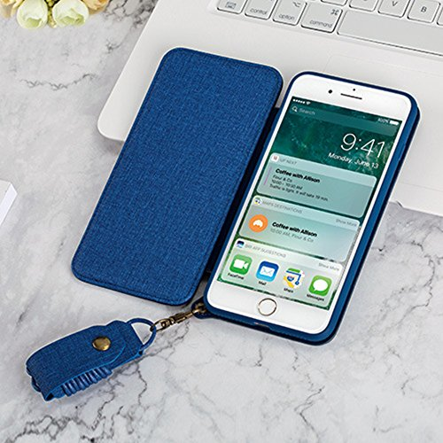iPhone 6 Plus Coque, iPhone 6S Plus Coque, Ultra Slim Flip Magnetic Denim de lin + TPU Matte Etui Housse Poche Cas Couverture Flip Coque Étui à Rabat de type Flip Cover / Smart Case Bookstyle avec Maq Denim Bleu