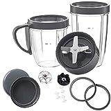 Poweka Accesorios para Nutribullet Cuchilla con Tapas, Juego de Engranajes, Vasos y Juntas, Piezas de Repuesto para NutriBullet 900W / 600W