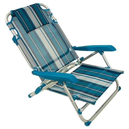 Spiaggina alluminio sedia mare spiaggia con 4 posizioni (blu)