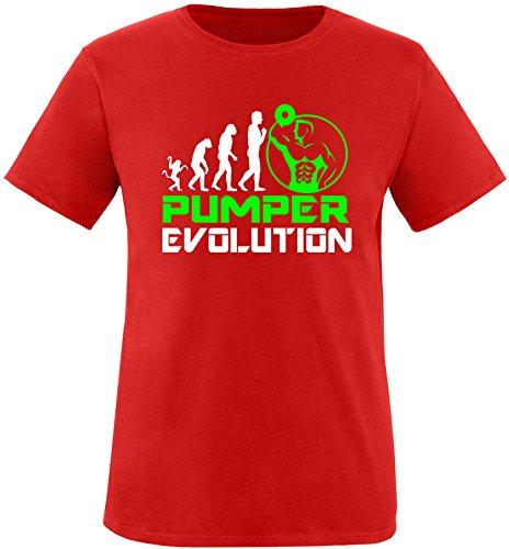 EZYshirt® Pumper Evolution Herren Rundhals T-Shirt Rot/Weiss/Neongr