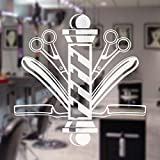 Pelo salón de belleza tatuajes de pared peluquería poste tijeras ventana vinilo Mural decoración pegatinas extraíble decoración del hogar calcomanías 42X42CM