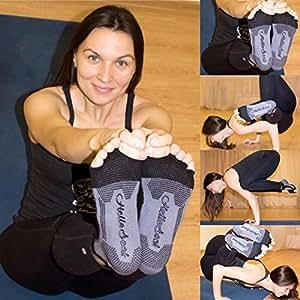 HelloSock® 5-Toe Premium Quality Exercise Gym Half Toeless Ankle Pilates Yoga MMA Martial Arts Fitness Dance Barre Gymnastics Anti-slip / Non-slip Falls Prevention Grip Socks Sox HelloSock